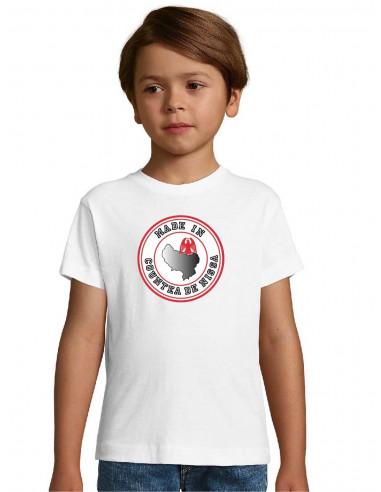 tee-shirt blanc de nice pour les garçons, flocage #pichin nissart devant sur le coeur